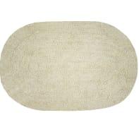 Tappeto bagno ovale Funky in cotone beige 60 x 40 cm