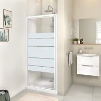 Porta doccia battente Essential 90 cm, H 185 cm in vetro, spessore 4 mm serigrafato bianco