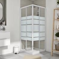 Box doccia quadrato scorrevole Essential 90 x 90 cm, H 185 cm in vetro temprato, spessore 4 mm serigrafato bianco