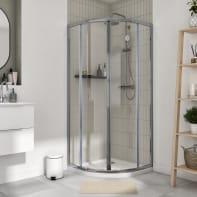 Box doccia semicircolare scorrevole Essential 80 x 80 cm, H 185 cm in vetro temprato, spessore 4 mm trasparente cromato