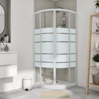 Box doccia semicircolare scorrevole Essential 90 x 90 cm, H 185 cm in vetro temprato, spessore 4 mm serigrafato bianco