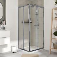 Box doccia quadrato scorrevole Essential 100 x 90 cm, H 185 cm in vetro temprato, spessore 4 mm trasparente cromato