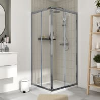 Box doccia rettangolare scorrevole Essential 90 x 80 cm, H 185 cm in vetro temprato, spessore 4 mm trasparente cromato
