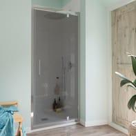 Porta doccia battente Bilbao 90 cm, H 190 cm in vetro temperato, spessore 6 mm fumé cromato