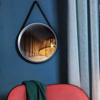 Specchio a parete tondo con cinghia bianco 39.5 cm