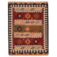 Tappeto persiano Kilim Sivas 2 in lana, rosso, 60x120 cm