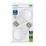 Lampadina LED E27 standard bianco naturale 9W = 806LM (equiv 60W) 200° , 2 pezzi