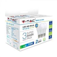 Lampadina LED E27 standard bianco freddo 11W = 1055LM (equiv 80W) 200° , 3 pezzi