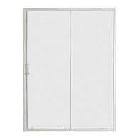Porta doccia scorrevole Sinque 140 cm, H 190 cm in vetro temprato, spessore 5 mm trasparente bianco