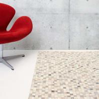 Tappeto Leath patchwork in cuoio, grigio, 60x200 cm