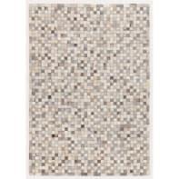 Tappeto Leath patchwork in cuoio, grigio, 200x300