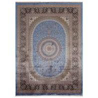 Tappeto Qoum Shah 5 in cotone, blu, 200x290