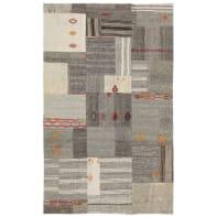 Tappeto Leath patchwork in cuoio, grigio scuro, 200x300 cm