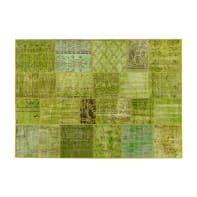 Tappeto Anatolian patchwork in lana, verde, 140x200 cm