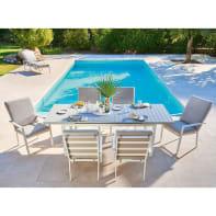 Set tavolo e sedie Las Vegas in alluminio grigio / argento 6 posti