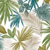 Carta da parati Palma verde blu, 53 cm x 10.05 m