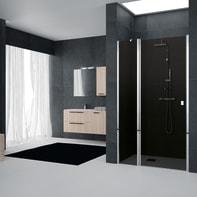 Porta doccia battente Glam 120 cm, H 201.7 cm in vetro temprato, spessore 6 mm fumé cromato
