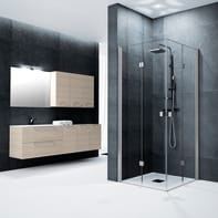 Box doccia quadrato battente Glam 80 x 80 cm, H 200 cm in vetro temprato, spessore 6 mm trasparente cromato
