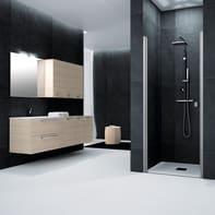 Porta doccia battente Glam 80 cm, H 201.7 cm in vetro temprato, spessore 6 mm trasparente satinato