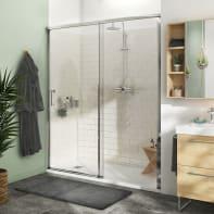 Porta doccia 1 anta fissa + 1 anta scorrevole Remix 160 cm, H 195 cm in vetro, spessore 8 mm trasparente cromato
