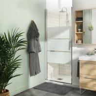 Porta doccia battente Remix 80 cm, H 195 cm in vetro, spessore 8 mm serigrafato cromato