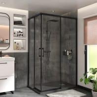 Box doccia rettangolare scorrevole Remix 70 x 120 cm, H 195 cm in vetro temprato, spessore 6 mm trasparente nero