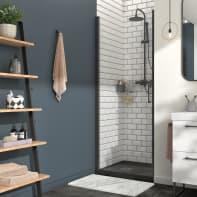 Porta doccia battente Remix 80 cm, H 195 cm in vetro, spessore 8 mm trasparente nero