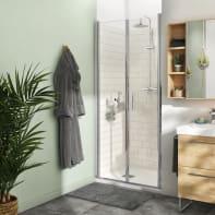 Porta doccia battente Remix 90 cm, H 195 cm in vetro, spessore 8 mm trasparente cromato