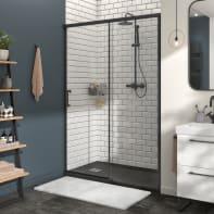 Porta doccia 1 anta fissa + 1 anta scorrevole Remix 140 cm, H 195 cm in vetro, spessore 8 mm trasparente nero