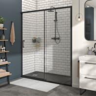 Porta doccia 1 anta fissa + 1 anta scorrevole Remix 170 cm, H 195 cm in vetro, spessore 8 mm trasparente nero