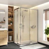 Box doccia rettangolare scorrevole Remix 70 x 120 cm, H 195 cm in vetro temprato, spessore 6 mm trasparente cromato