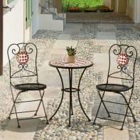 Set tavolo e sedie Mosaico in metallo nero 2 posti