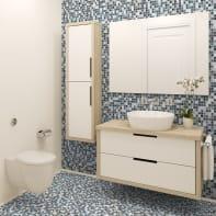Mosaico Grigio Cielo H 31.5 x L 31.5 cm grigio/bianco
