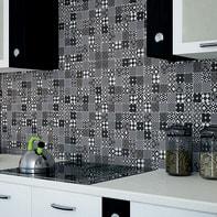 Mosaico Cementina Nera H 30 x L 30 cm bianco/nero