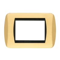 Placca CAL Living International 3 moduli oro satinato satinato compatibile con living international