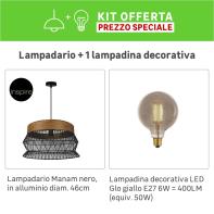 Lampadario Bohème KIT+1 LAMPADINA Manam marrone/nero, in metallo, D. 46 cm, INSPIRE