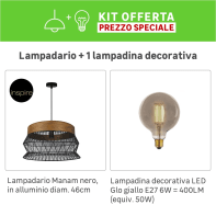 Lampadario KIT+1 LAMPADINA Manam marrone/nero, in metallo, E27 1 luceINSPIRE