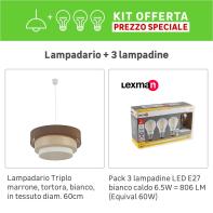 Lampadario KIT+1 PACK 3 LAMPADINE Triplo marrone, tortora, bianco, in tessuto, E27 1 luce
