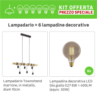 Lampadario Industriale KIT+6 LAMPADINE DECORATIVE  Townshend marrone, in metallo, 6 luci, EGLO