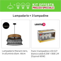 Lampadario KIT+1 PACK 3 LAMPADINE Manam marrone/nero, in metallo, E27 1 luceINSPIRE