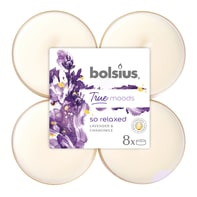 Candela profumata BOLSIUS essenza lavanda e camomilla H 11.5 cm, 8 pezzi