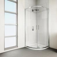 Box doccia semicircolare 2 ante fisse + 2 ante scorrevoli Verve 80 x 80 cm, H 190 cm in vetro temprato, spessore 6 mm trasparente cromato