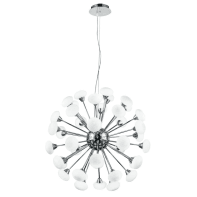 Lampadario Moderno Jupiter cromo, in metallo, L. 150 cm, 40 luci, FAN EUROPE
