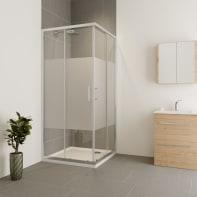 Box doccia rettangolare scorrevole Verve 90 x 100 cm, H 190 cm in vetro temprato, spessore 6 mm serigrafato cromato