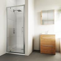 Porta doccia battente Verve 100 cm, H 190 cm in vetro temprato, spessore 6 mm trasparente cromato