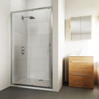 Porta doccia scorrevole Verve 95 cm, H 190 cm in vetro temprato, spessore 6 mm trasparente cromato