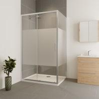 Box doccia angolare porta scorrevole e lato fisso rettangolare Verve 170 x 75 cm, H 190 cm in vetro temprato, spessore 6 mm serigrafato cromato