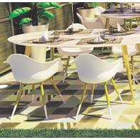 Set tavolo e sedie Chamonix in legno bianco 6 posti