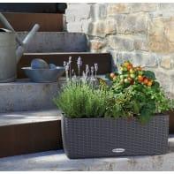 Vaso da fiori con riserva d'acqua grigio rettangolare 19 x 19 cm