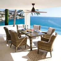 Set tavolo e sedie Bermuda in rattan sintetico marrone 6 posti